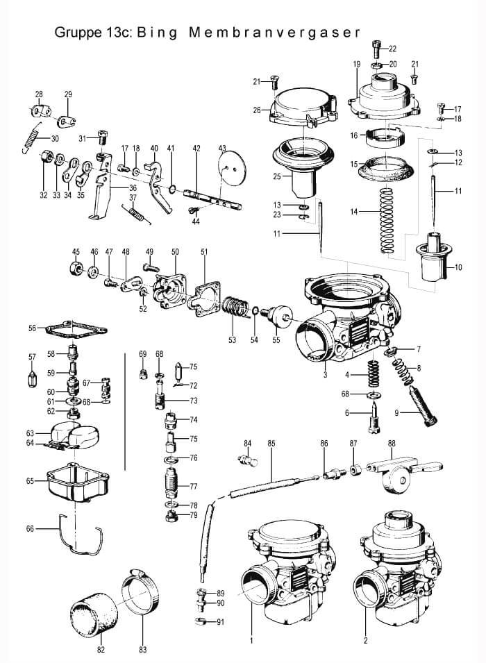 Carburator + parts:<BR>BING membrane carb<BR>R75/5 - R100